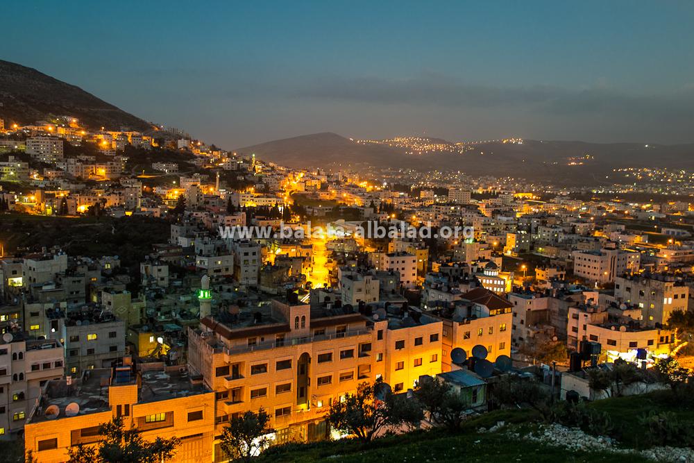 بلاطة البلد من جبل جرزيم بعد المغرب
